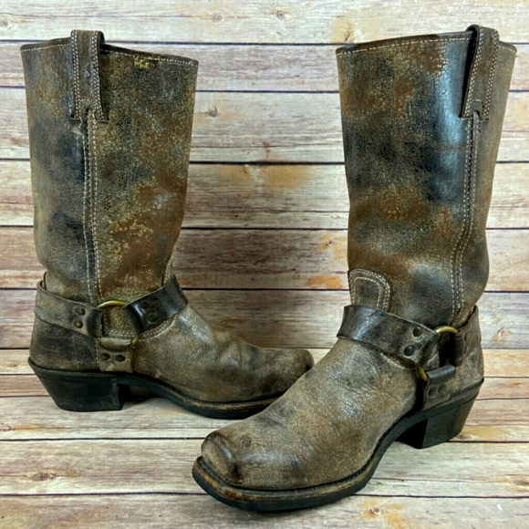 Frye Harness Distressed Moto Brown Boots Size 8